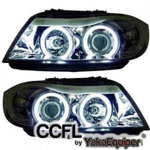 2 phares avant bmw serie 3 e90 e91 angel eyes ccfl chrome yakaequiper. Black Bedroom Furniture Sets. Home Design Ideas