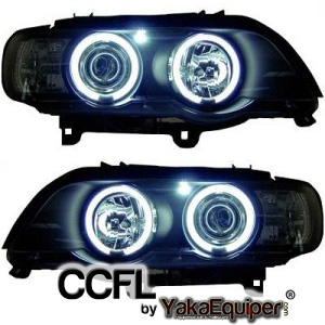Phares avant BMW X5 E53 Angel Eyes CCFL 99-03 - Noir