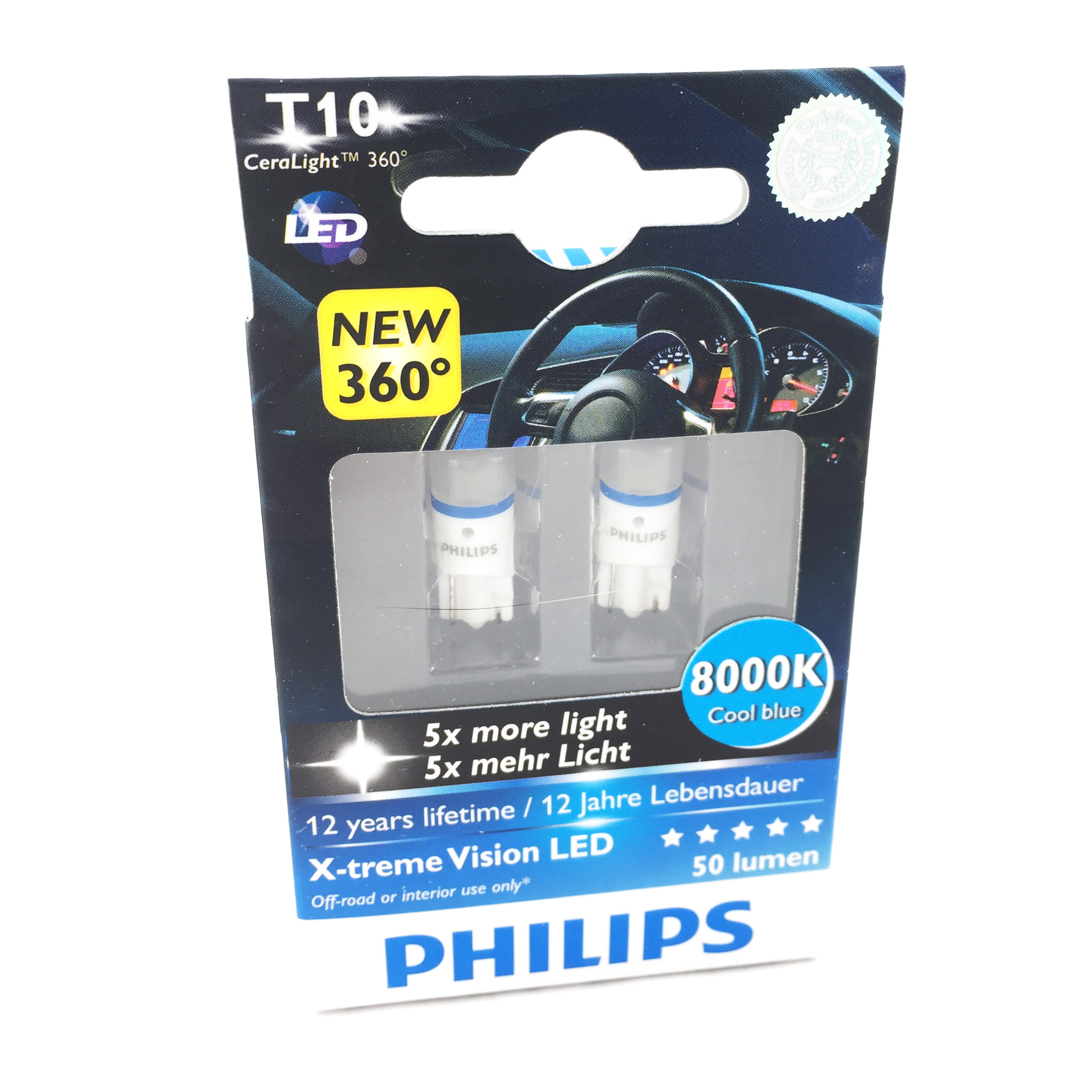 pack 2 ampoules t10 philips ceralight 360 x treme vision led 8000k culot w5w yakaequiper. Black Bedroom Furniture Sets. Home Design Ideas