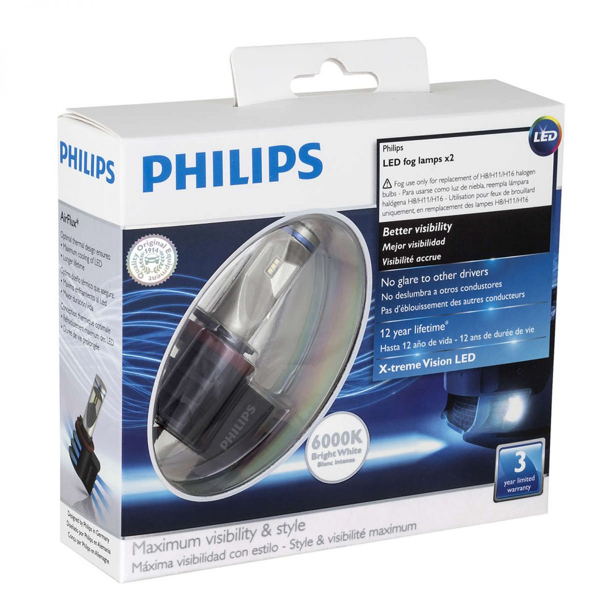 philips 2 ampoules x treme vision led 6000k h11 h8 h16 yakaequiper. Black Bedroom Furniture Sets. Home Design Ideas