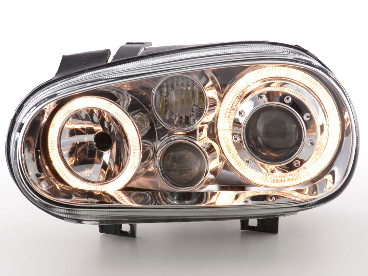 2 headlights vw golf 4 angel eyes chrome yakaequiper. Black Bedroom Furniture Sets. Home Design Ideas