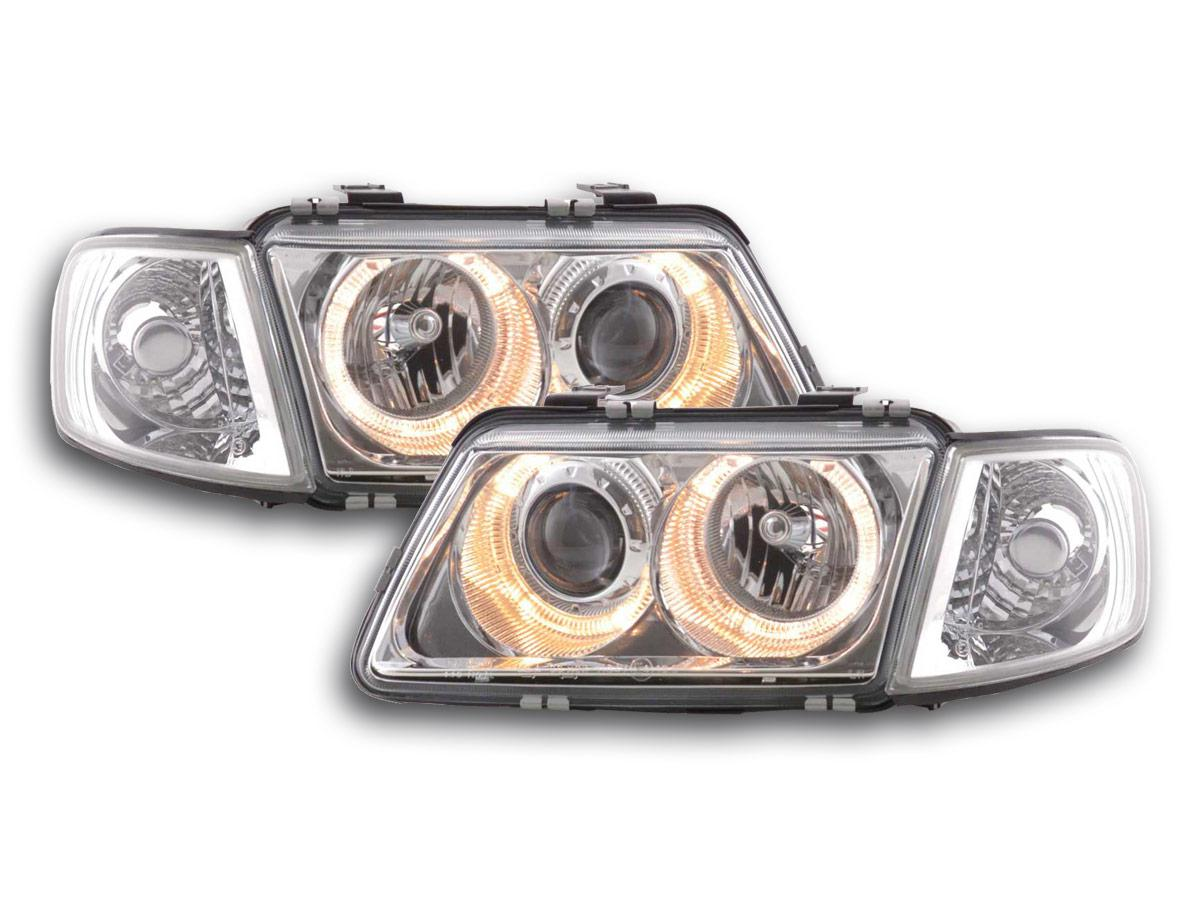 2 phares avant audi a3 8l angel eyes led chrome yakaequiper