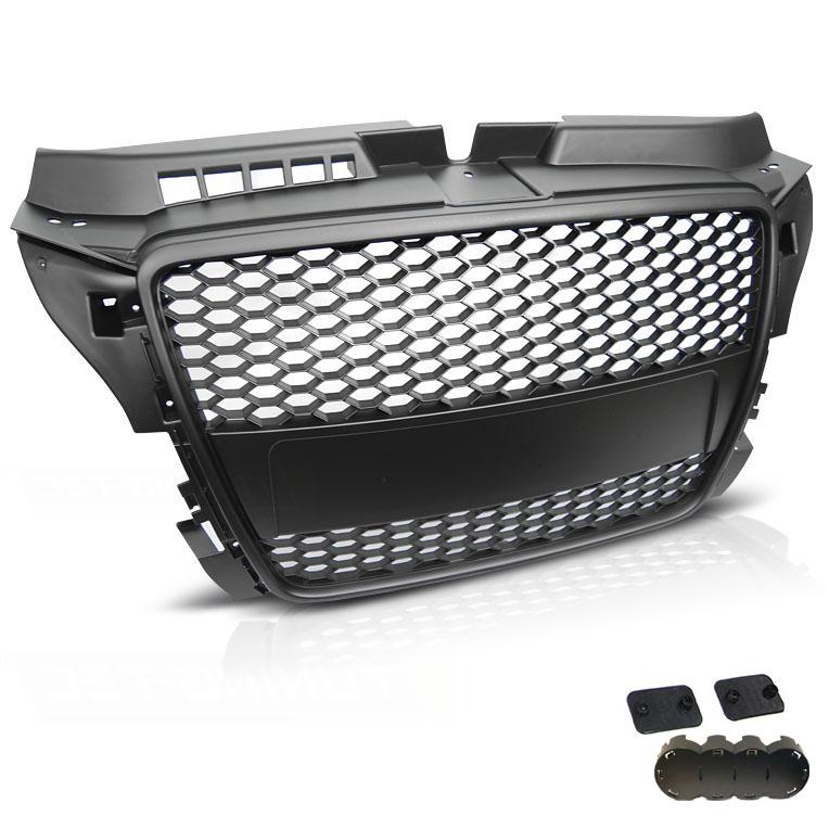 grille calandre audi a3 8p 08 12 look rs3 noir mat. Black Bedroom Furniture Sets. Home Design Ideas