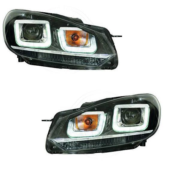 2 phares avant vw golf 6 3d led 08 12 noir chrome yakaequiper. Black Bedroom Furniture Sets. Home Design Ideas