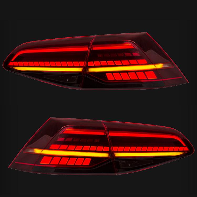 feux arriere dynamiques vw golf 7 led look r facelift rouge fume yakaequiper. Black Bedroom Furniture Sets. Home Design Ideas