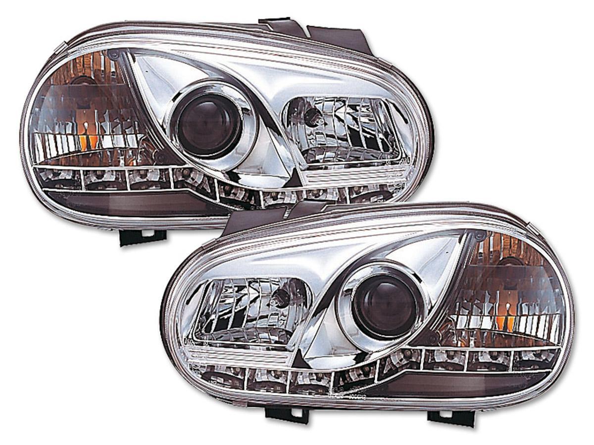 2 phares avant vw golf 4 devil eyes led chrome yakaequiper. Black Bedroom Furniture Sets. Home Design Ideas