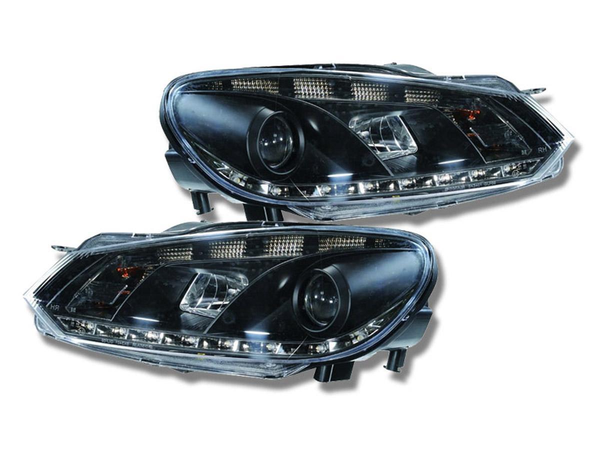 2 phares avant vw golf 6 devil eyes led noir yakaequiper. Black Bedroom Furniture Sets. Home Design Ideas