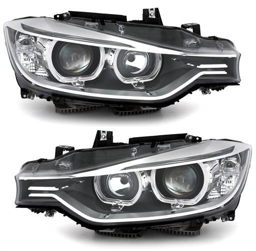 Bmw 3 F30 Xenon Headlights Depo V2 Led 11 15 Black Yakaequiper
