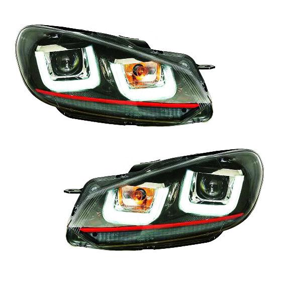 2 phares avant vw golf 6 3d led 08 12 noir rouge yakaequiper. Black Bedroom Furniture Sets. Home Design Ideas
