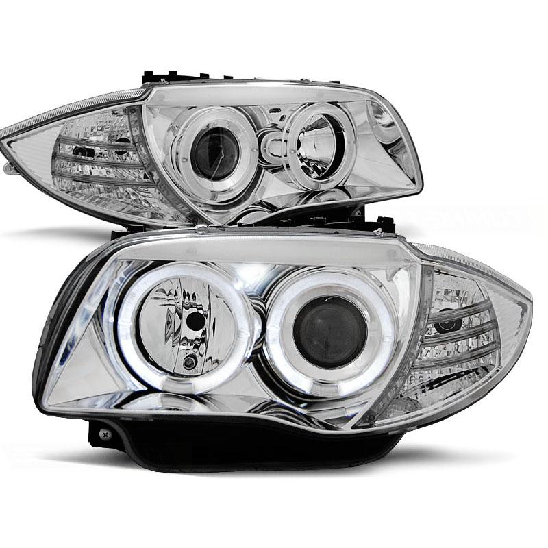 2 koplampen bmw 1 e81 e87 serie angel eyes 2004 chrome. Black Bedroom Furniture Sets. Home Design Ideas