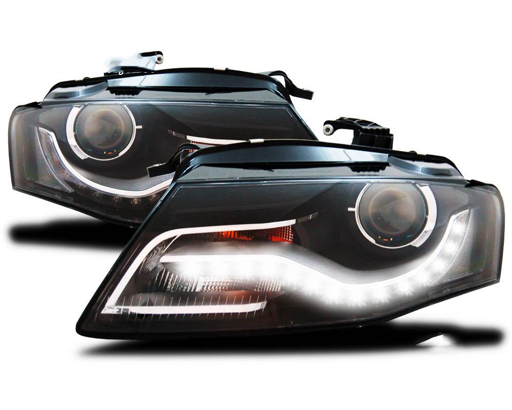 2 phares avant audi a4 b8 2007 2011 led noir yakaequiper. Black Bedroom Furniture Sets. Home Design Ideas