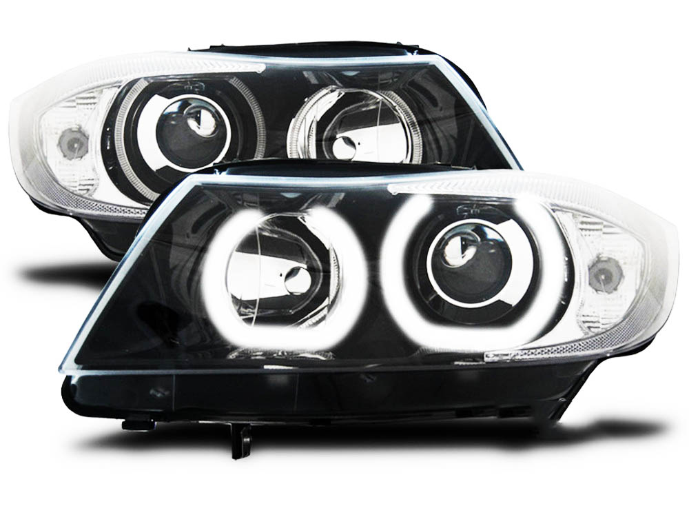 phares led bmw serie 3 e90 e91 angel eyes depo v2 05 11 noir yakaequiper. Black Bedroom Furniture Sets. Home Design Ideas