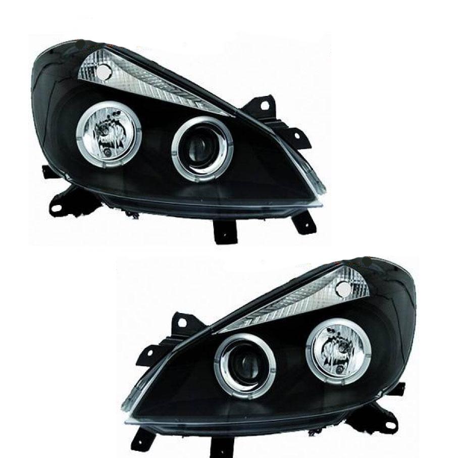 2 phares avant renault clio 3 05 09 angel eyes noir yakaequiper. Black Bedroom Furniture Sets. Home Design Ideas