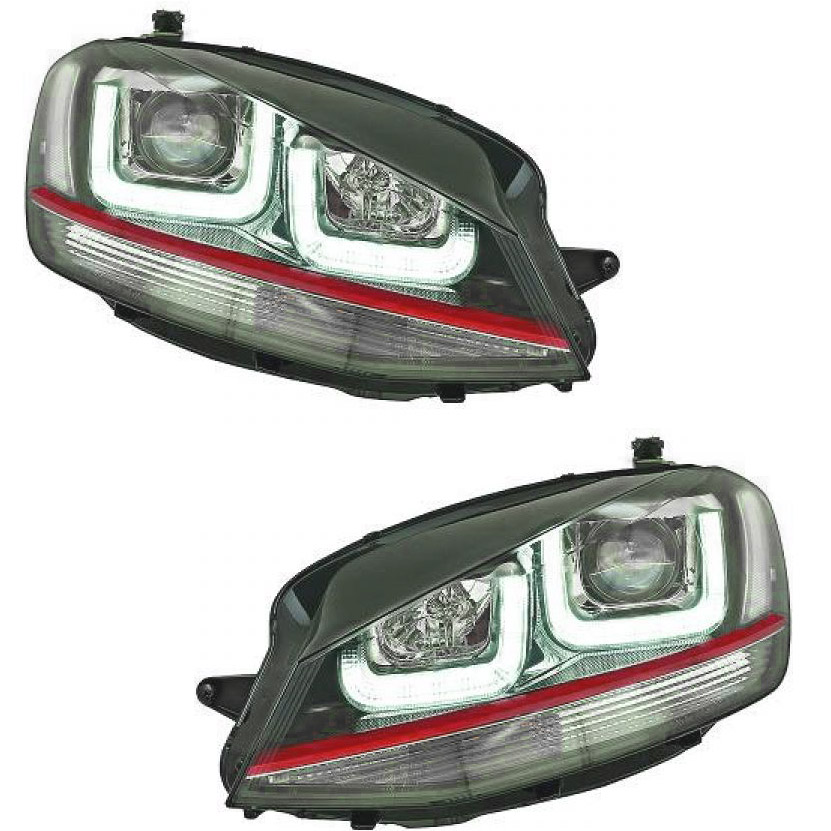 phares avant vw golf 7 3d led noir et liseret rouge yakaequiper. Black Bedroom Furniture Sets. Home Design Ideas