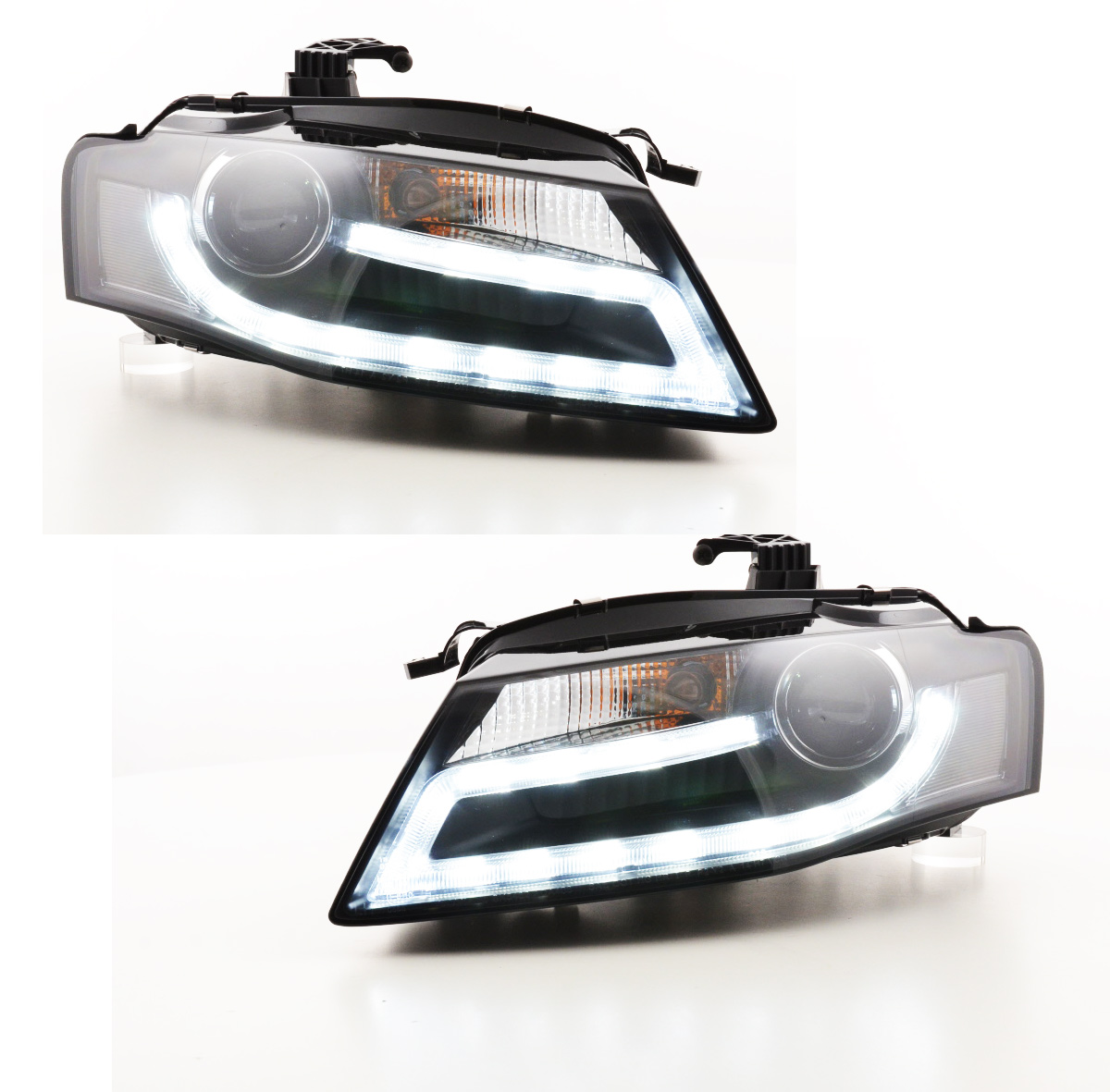 Audi A4 B8 Headlights 07 11 Devil Eyes Black