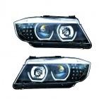Phares BMW Serie 3 E90 E91 Angel Eyes 3D 05-12 - Noir