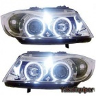 Phares avant BMW Serie 3 E90 E91 Angel Eyes LED 05-08 - Chrome