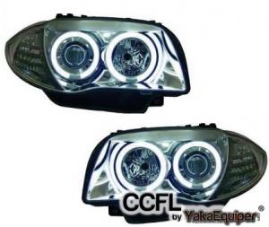 Phares avant BMW Serie 1 E81 E87 Angel Eyes CCFL 04 et + - Chrome