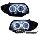 Phares avant BMW Serie 1 E81 E87 Angel Eyes CCFL 04 et + - Noir