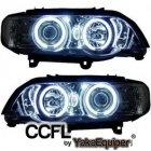 Phares avant BMW X5 E53 Angel Eyes CCFL 99-03 - Chrome