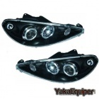 Phares avant Peugeot 206 Angel Eyes - Noir