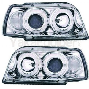 2 Phares avant Renault Clio 1 91-98 Angel Eyes - Chrome