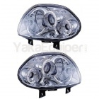 Phares avant Renault Clio 2 98-01 Angel Eyes - Chrome