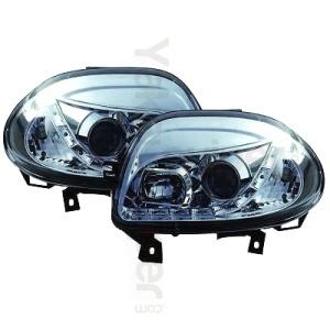 2 Phares avant Renault Clio 2 98-01 Devil Eyes LED - Chrome