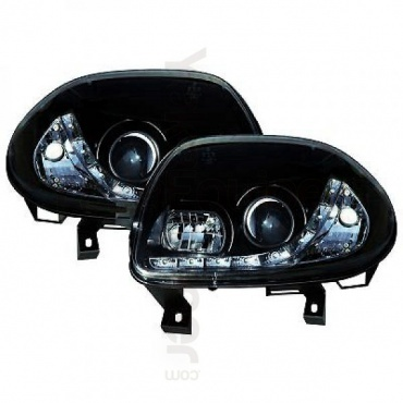 2 phares avant renault clio 2 98 01 devil eyes led noir yakaequiper. Black Bedroom Furniture Sets. Home Design Ideas