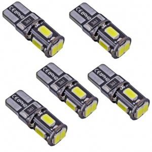 5x Ampoule T10 LED 3D<sup>5</sup> SMD- Anti Erreur OBD - Culot W5W - Blanc Pur