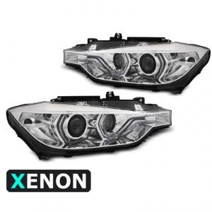 2 Phares xénon BMW Serie 3 F30 F31 Angel Eyes LED 11-15 - Chrome