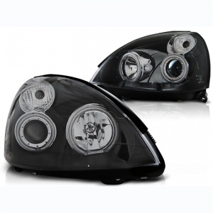 Phares avant Renault Clio 2 01-05 Angel Eyes LED - Noir