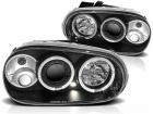 Phares avant VW GOLF 4 Angel Eyes blanc 97-03 - Noir