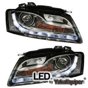 Projecteurs Audi A5 07-08 LED - look xenon - Noir