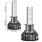 2 Ampoules LED H1 courtes ventilées 10000lumens 6000K - Blanc Pur