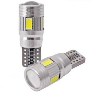 Ampoule T10 LED 3D<sup>6</sup> SMD- Anti Erreur OBD - Culot W5W - Blanc Pur