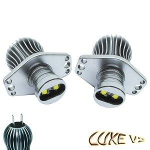 Pack Ampoule LED 25Watts anneaux LUXE V2 angel eyes BMW E90 E91 - Blanc