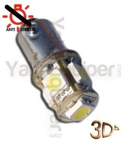 Ampoule T4W LED 3D<sup>5</sup> - Anti Erreur OBD - Culot BA9S - Blanc Pur