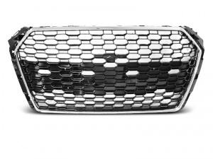 Grille calandre Audi A4 B9 15-19 - look RS4 - Chrome Noir