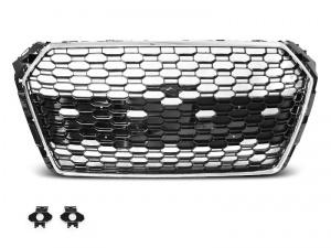 Grille calandre Audi A4 B9 15-19 - look RS4 - Chrome Noir - PDC