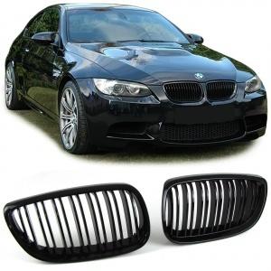 Grilles calandre BMW Serie 3 E92 E93 07-10 - look M - Noir brillant