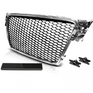 Grille calandre Audi A4 B8 08-11 - Chrome - look RS4