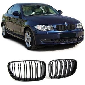 Grilles calandre BMW Serie 1 E81  E87 08-11 look M - Noir brillant