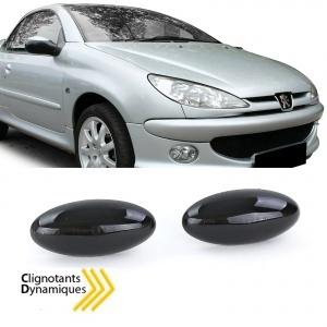 2 Clignotants d'aile dynamiques LED Peugeot 107 206 307 407 607 Noir