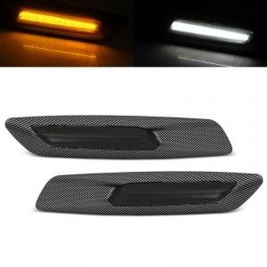 Clignotants repetiteurs LED BMW E60 E61 E90 E91 E92 E81 E82 E87 Look F10 - Carbone Fumé