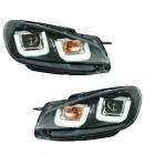 Phares avant VW GOLF 6  3D LED 08-12 Noir+noir