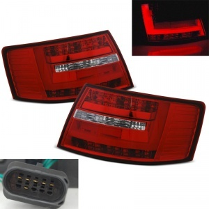 Feux arriere AUDI A6 C6 LTI look facelift 04-08 Rouge / Clair 6pin