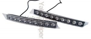 Feux de jour 9 LED Diurne 5W style Audi A6 - Blanc Pur
