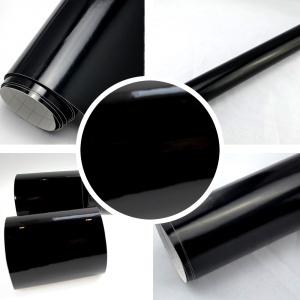 Vinyl adhésif covering Noir Haute brillance au mètre / 150cm
