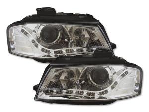 2 Phares avant Audi A3 8P Devil Eyes LED - Chrome